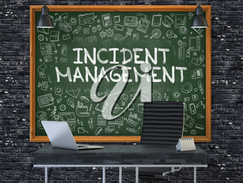 Incident Management - Hand Drawn on Green Chalkboard in Modern Office Workplace. Illustration with Doodle Design Elements. 3D.