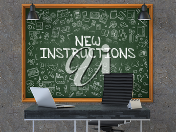 Green Chalkboard on the Dark Old Concrete Wall in the Interior of a Modern Office with Hand Drawn New Instructions.  Business Concept with Doodle Style Elements. 3D.