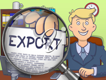 Export on Paper in Officeman's Hand through Lens to Illustrate a Business Concept. Colored Doodle Illustration.