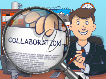 Business Man Welcomes in Office and Holds Out a Concept on Paper Collaboration. Closeup View through Magnifier. Colored Doodle Style Illustration.