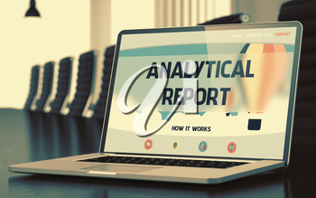 Analytical Report. Closeup Landing Page on Mobile Computer Display. Modern Meeting Hall Background. Blurred. Toned Image. 3D.