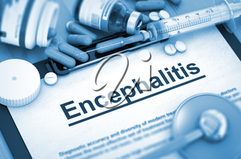 Encephalitis - Medical Report with Composition of Medicaments - Pills, Injections and Syringe. 3D Render.
