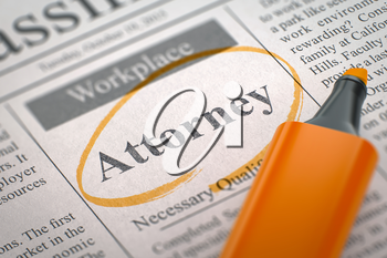 A Newspaper Column in the Classifieds with the Small Ads of Job Search of Attorney, Circled with a Orange Highlighter. Blurred Image with Selective focus. Job Seeking Concept. 3D Illustration.