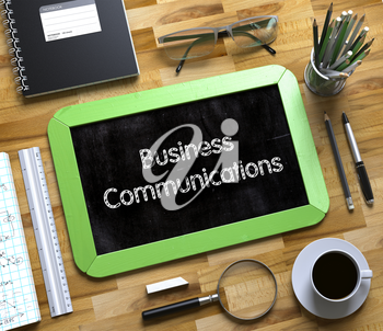 Small Chalkboard with Business Communications Concept. Small Chalkboard with Business Communications. 3d Rendering.