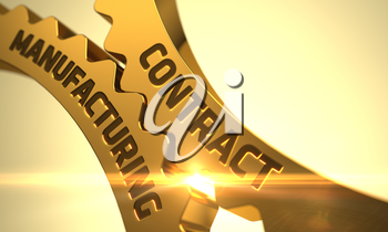 Contract Manufacturing on Mechanism of Golden Metallic Gears with Lens Flare. 3D Render.
