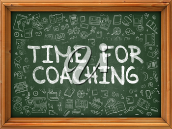 Green Chalkboard with Hand Drawn Time for Coaching with Doodle Icons Around. Line Style Illustration.
