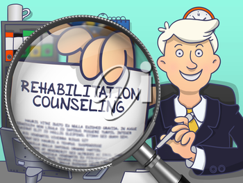 Rehabilitation Counseling. Cheerful Man Welcomes in Office and Shows Text on Paper through Magnifier. Colored Doodle Style Illustration.