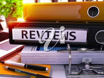 Reviews - Black Office Folder on Background of Working Table with Stationery and Laptop. Reviews Business Concept on Blurred Background. Reviews Toned Image. 3D.