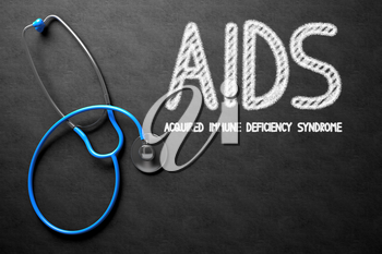 Medical Concept: Black Chalkboard with AIDS - Acquired Immune Deficiency Syndrome. Medical Concept: AIDS - Acquired Immune Deficiency Syndrome on Black Chalkboard. 3D Rendering.