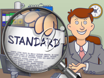 Businessman Shows Text on Paper Standard. Closeup View through Lens. Colored Modern Line Illustration in Doodle Style.
