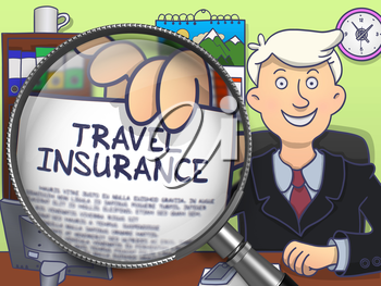 Travel Insurance. Paper with Concept in Businessman's Hand through Magnifier. Colored Doodle Illustration.