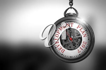 Development Plan 2017 Close Up of Red Text on the Vintage Pocket Clock Face. Development Plan 2017 on Pocket Watch Face with Close View of Watch Mechanism. Business Concept. 3D Rendering.