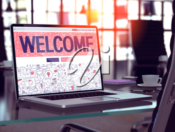 Welcome Concept - Closeup on Landing Page of Laptop Screen in Modern Office Workplace. Toned Image with Selective Focus. 3D Render.