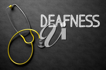 Medical Concept: Deafness Handwritten on Black Chalkboard. Top View of Yellow Stethoscope on Chalkboard. Medical Concept: Black Chalkboard with Deafness. 3D Rendering.