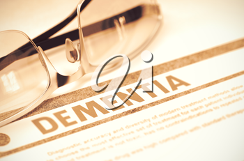 Dementia - Medicine Concept with Blurred Text and Glasses on Red Background. Selective Focus. Dementia - Medicine Concept on Red Background with Blurred Text and Composition of Specs. 3D Rendering.
