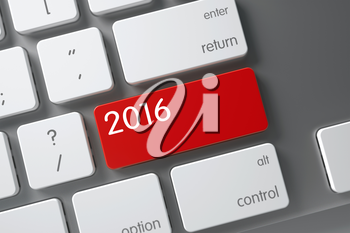 2016 Concept: Slim Aluminum Keyboard with 2016, Selected Focus on Red Enter Button. 3D Illustration.