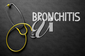 Medical Concept: Bronchitis - Medical Concept on Black Chalkboard. Medical Concept: Bronchitis - Text on Black Chalkboard with Yellow Stethoscope. 3D Rendering.