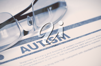 Autism - Printed Diagnosis with Blurred Text on Blue Background with Specs. Medical Concept. Autism - Medicine Concept on Blue Background with Blurred Text and Composition of Spectacles. 3D Rendering.