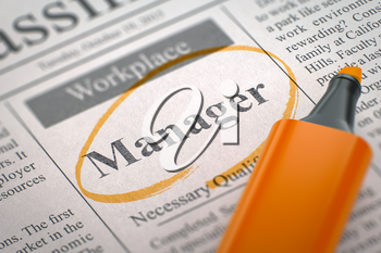 Newspaper with Small Advertising Manager. Blurred Image. Selective focus. Concept of Recruitment. 3D Rendering.