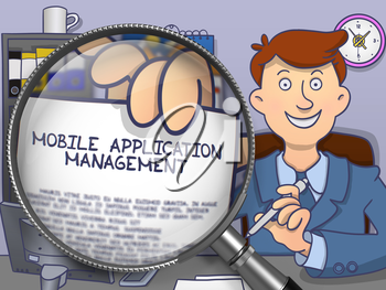 Mobile Application Management on Paper in Business Man's Hand to Illustrate a Business Concept. Closeup View through Lens. Multicolor Doodle Illustration.
