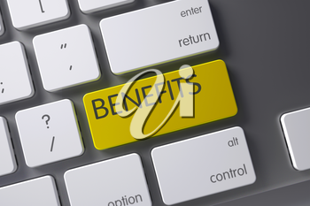 Benefits Concept Metallic Keyboard with Benefits on Yellow Enter Button Background, Selected Focus. 3D Render.