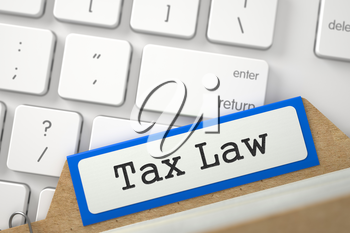 Tax Law. Orange Folder Register on Background of Modern Laptop Keyboard. Business Concept. Closeup View. Blurred Illustration. 3D Rendering.