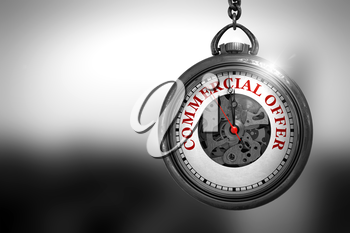 Commercial Offer on Vintage Pocket Clock Face with Close View of Watch Mechanism. Business Concept. Commercial Offer Close Up of Red Text on the Vintage Watch Face. 3D Rendering.