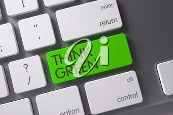 Think Green Concept Modern Keyboard with Think Green on Green Enter Button Background, Selected Focus. 3D Render.