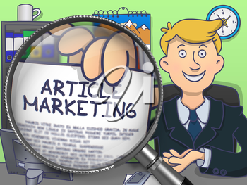 Article Marketing on Paper in Businessman's Hand to Illustrate a Business Concept. Closeup View through Magnifying Glass. Multicolor Doodle Style Illustration.