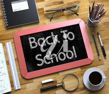Back To School - Text on Small Chalkboard.Back To School Handwritten on Small Chalkboard. 3d Rendering.