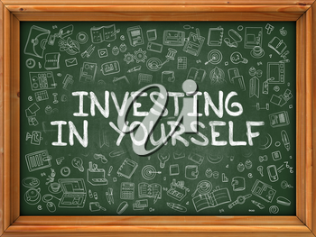 Green Chalkboard with Hand Drawn Investing in Yourself with Doodle Icons Around. Line Style Illustration.