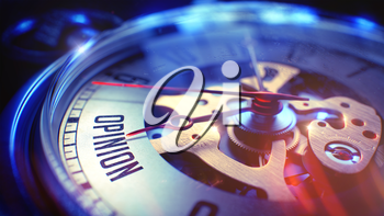 Opinion. on Pocket Watch Face with CloseUp View of Watch Mechanism. Time Concept. Vintage Effect. 3D Render.