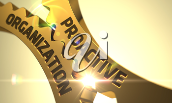 Proactive Organization on the Mechanism of Golden Gears with Lens Flare. 3D Render.