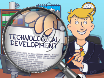Technological Development on Paper in Business Man's Hand through Lens to Illustrate a Business Concept. Colored Doodle Illustration.