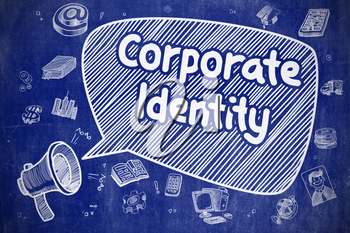 Shouting Megaphone with Text Corporate Identity on Speech Bubble. Hand Drawn Illustration. Business Concept.