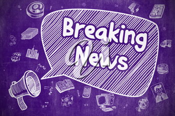Business Concept. Bullhorn with Text Breaking News. Doodle Illustration on Purple Chalkboard. Speech Bubble with Text Breaking News Cartoon. Illustration on Purple Chalkboard. Advertising Concept.