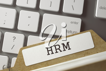 HRM written on  Sort Index Card on Background of Modern Laptop Keyboard. Business Concept. Closeup View. Toned Blurred  Illustration. 3D Rendering.