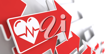Icon of Heart with Cardiogram Line on Red Arrow on a Grey Background.