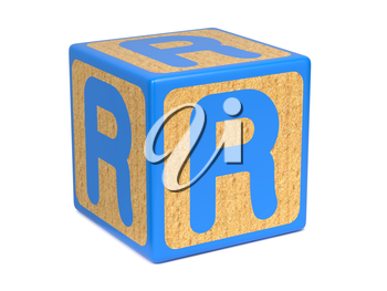 Letter R on Blue Wooden Childrens Alphabet Block  Isolated on White. Educational Concept.