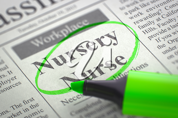 A Newspaper Column in the Classifieds with the Jobs Section Vacancy of Nursery Nurse, Circled with a Green Marker. Blurred Image with Selective focus. Concept of Recruitment. 3D Illustration.