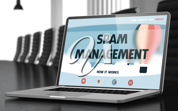 Closeup Spam Management Concept on Landing Page of Laptop Display in Modern Meeting Hall. Toned Image. Blurred Background. 3D Render.