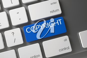 Copyright Concept Metallic Keyboard with Copyright on Blue Enter Keypad Background, Selected Focus. 3D Illustration.