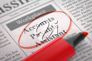 A Newspaper Column in the Classifieds with the Jobs of Accounts Payable Assistant, Circled with a Red Marker. Blurred Image with Selective focus. Concept of Recruitment. 3D Render.