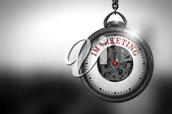 Business Concept: Imarketing on Vintage Watch Face with Close View of Watch Mechanism. Vintage Effect. Business Concept: Vintage Pocket Clock with Imarketing - Red Text on it Face. 3D Rendering.