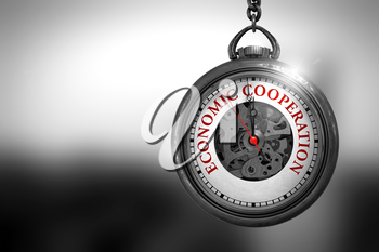 Business Concept: Vintage Pocket Watch with Economic Cooperation - Red Text on it Face. Economic Cooperation on Vintage Watch Face with Close View of Watch Mechanism. Business Concept. 3D Rendering.