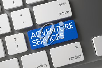 Adventure Services Concept: Modern Keyboard with Adventure Services, Selected Focus on Blue Enter Key. 3D Render.