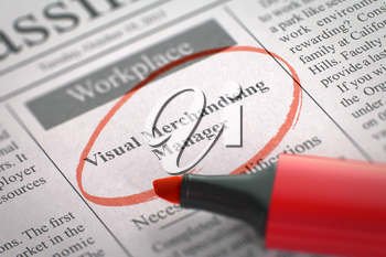 Visual Merchandising Manager. Newspaper with the Small Ads of Job Search, Circled with a Red Marker. Blurred Image. Selective focus. Hiring Concept. 3D.