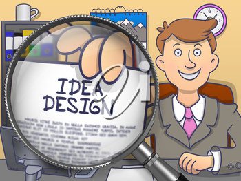 Idea Design. Cheerful Man Welcomes in Office and Showing Paper with Concept through Magnifying Glass. Colored Doodle Illustration.