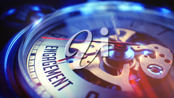 Business Concept: Engagement Text. on Pocket Watch Face with Close View of Watch Mechanism. Time Concept with Selective Focus and Lens Flare Effect. 3D Render.