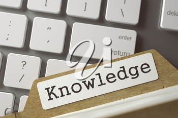 Sort Index Card with Knowledge on Background of Modern Laptop Keyboard. Business Concept. Closeup View. Blurred Toned Image. 3D Rendering.